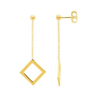 Boucles d'oreilles Femme Carador minimaliste carré or 375/000