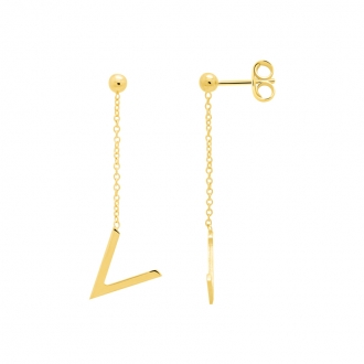 Boucles d'oreilles Femme Carador minimaliste motif V or 375/000