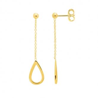 Boucles d'oreilles Femme Carador minimaliste goutte or 375/000