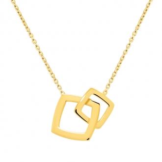 Collier Femme Carador minimaliste doube carrés or 375/000