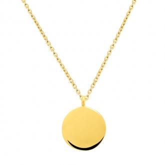 Collier Femme Carador minimaliste disque or 375/000