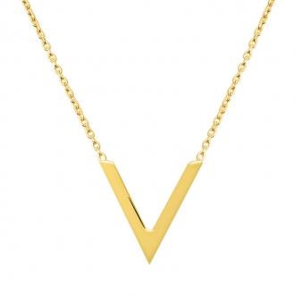 Collier Femme Carador minimaliste motif V or 375/000