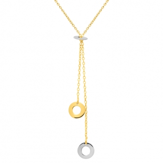 Collier Femme Carador minimaliste mini cercles or bicolore 375/000