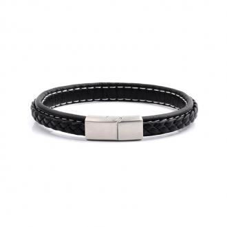 Bracelet Carador noir fermoir acier brossé
