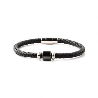 Bracelet Carador noir cuir véritable