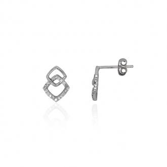 Boucles d'oreilles Carador minimaliste losanges enlacés DJE2077