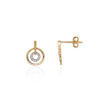 Boucles d'oreilles Carador minimaliste double cercles or 375/000 et oxydes de zirconium