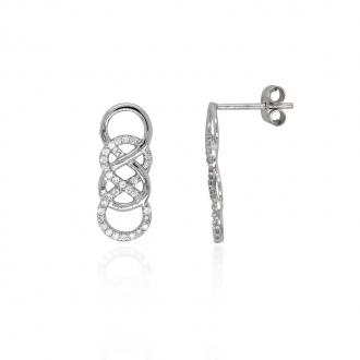 Boucles d'oreilles Carador minimaliste double infini or 375/000 et oxydes de zirconium