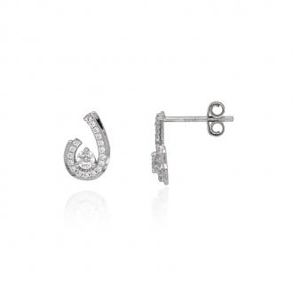 Boucles d'oreilles Carador baroques forme goutte or blanc 375/000 et oxydes de zirconium