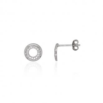 Boucles d'oreilles Carador sphère or blanc 375/000 et oxydes de zirconium