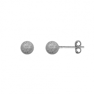 Boucles d'oreilles Carador boule glitter 6 mm en argent 925/000