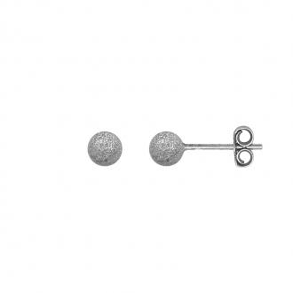 Boucles d'oreilles Carador boule glitter 4 mm en argent 925/000