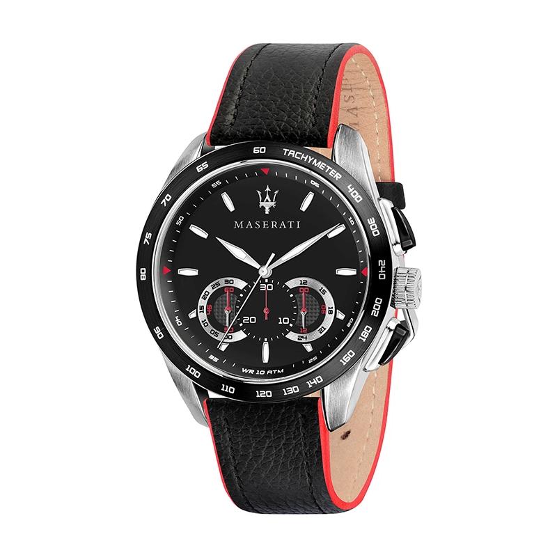 Montre Maserati homme Traguardo cuir noir et rouge R8871612028