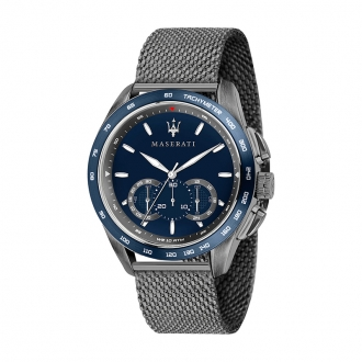 Montre Maserati homme Traguardo acier gris et bleu R8873612009