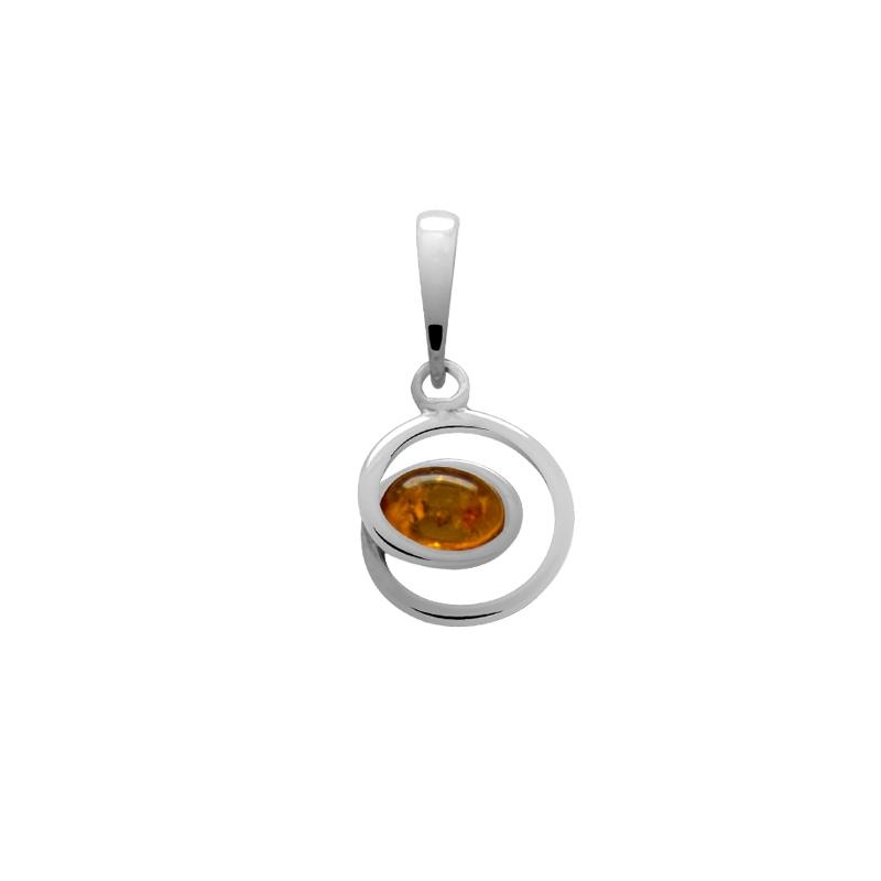 Pendentif Carador argent pierre ambre