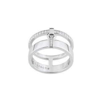 Bague Femme Guy Laroche double aneaux argent 925/000 et oxydes de zirconium ATY001AZ