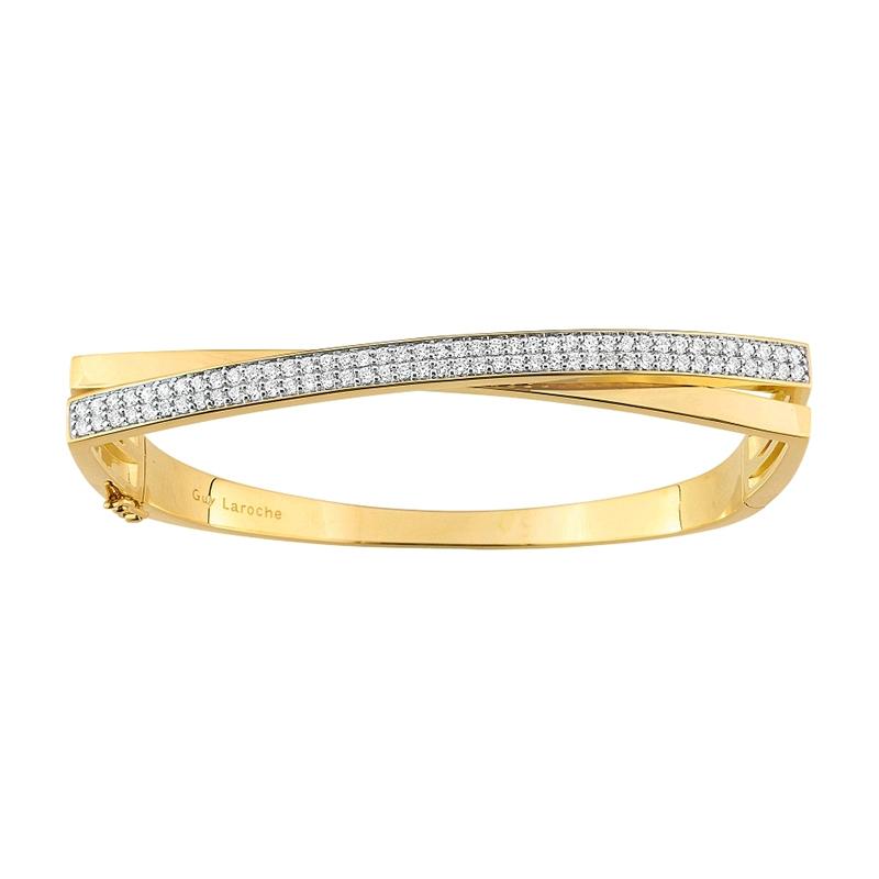 Bracelet jonc Guy Laroche croisée plaqué or et oxydes de zirconium S22.75102