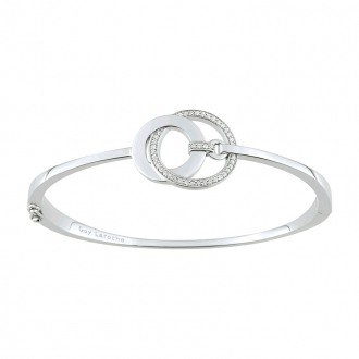 Bracelet jonc Guy Laroche boucles enlacées argent 925/000 et oxydes de zirconium ATY703AZ