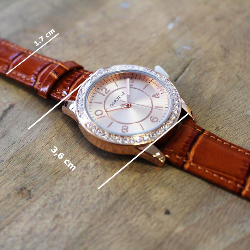 Montre Femme Amporelle cuir fauve P100550-C3