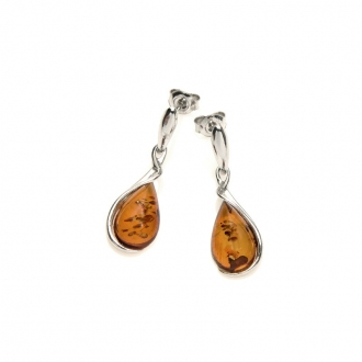 Boucles d'oreilles Carador argent 925/000ème goutte d'eau ambre