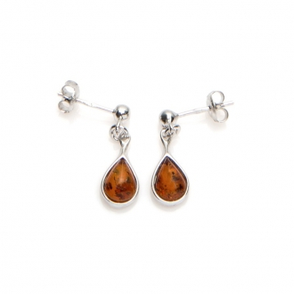 Boucles d'oreilles Carador goutte d'eau pierre ambre