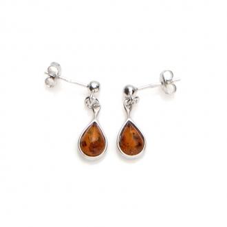 Boucles d'oreilles Carador argent 925/000ème goutte d'eau pierre ambre