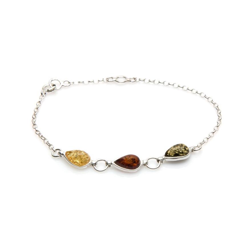 af02baa5595 Bracelet Carador argent 925 000ème forme goutte d eau ambre trois ...
