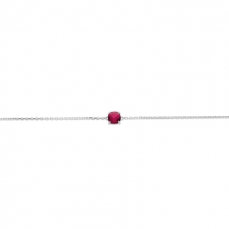 Bracelet Carador argent 925/000 et pierre facettée teintée rubis