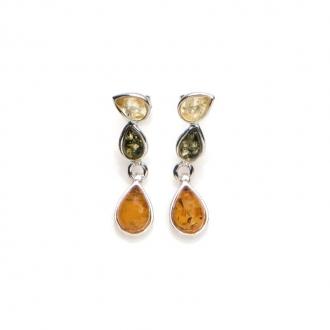 Boucles d'oreilles Carador argent 925/000ème ambre trois couleurs