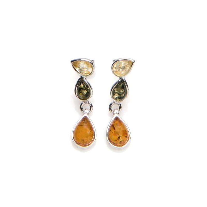 Boucles d'oreilles Carador ambre trois couleurs