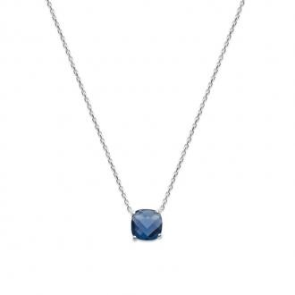 Collier Carador argent 925/000 et pierre facettée teintée saphir