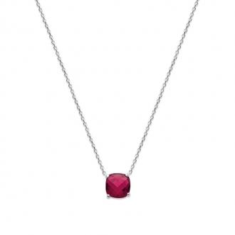Collier Carador argent 925/000 et pierre facettée teintée rubis