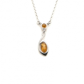 Collier Carador argent 925/000ème ambre