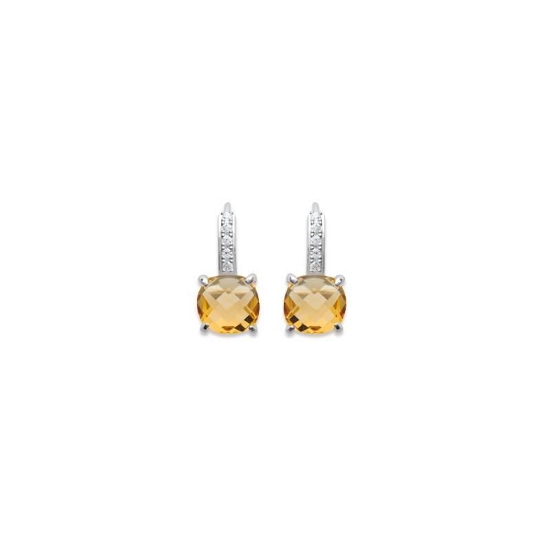 Boucles d'oreilles dormeuses Carador argent 925/000 et pierre facettée teintée citrine