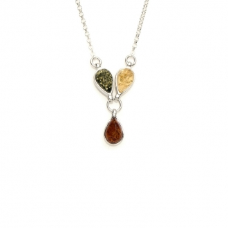 Collier Carador argent 925/000ème ambre trois couleurs