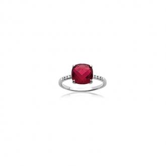 Bague Carador argent 925/000 et pierre carrée facettée teintée rubis