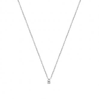 Collier Carador classique en argent 925/000 et oxyde de zirconium 3 mm