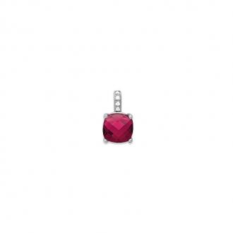 Pendentif Carador argent 925/000 et pierre carrée facettée teintée rubis
