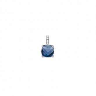 Pendentif Carador argent 925/000 et pierre carrée facettée teintée saphir