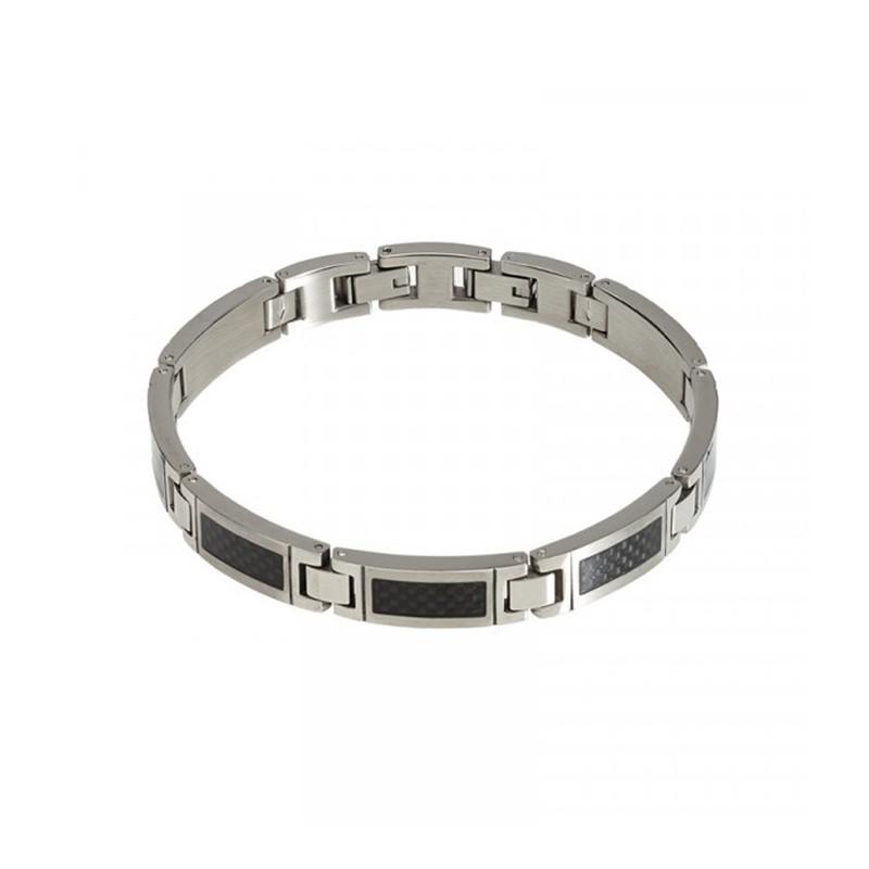 Bracelet Phebus acier gris et noir