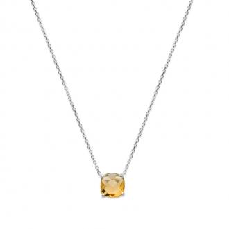 Collier Carador argent 925/000 et pierre facettée teintée citrine