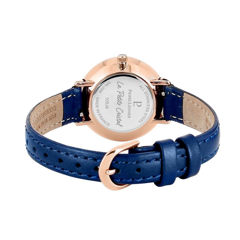 """Montre Pierre Lannier """"La Petite Cristal"""" cuir bleu 105J966"""