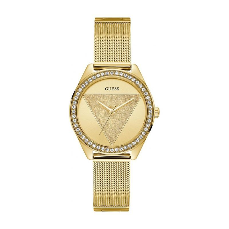 Montre Femme Guess Tri Glitz maille milanaise dorée W1142L2
