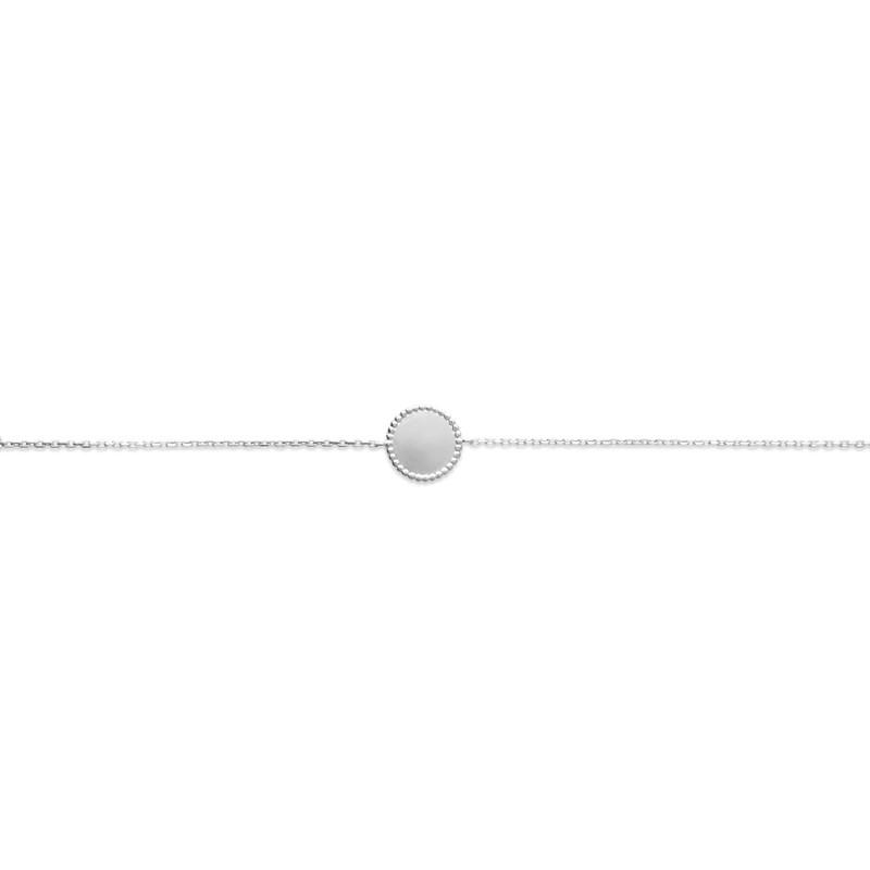 Bracelet Carador plaque ronde bords perlés en argent 925/000