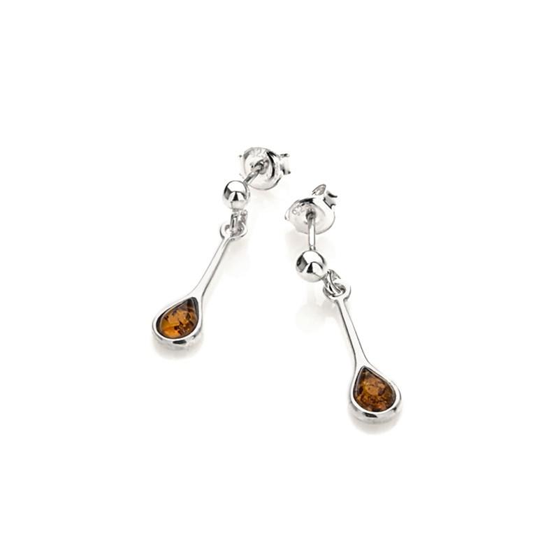 Boucles d'oreilles Carador argent 925/000 goutte d'eau ambre