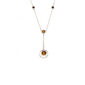Collier Carador argent 925/000 multiples formes ambre