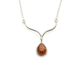 Collier Carador argent 925/000 forme goutte d'eau ambre