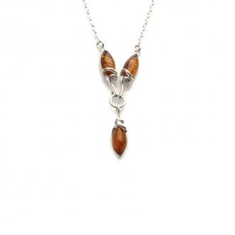 Collier Carador argent 925/000ème pierre ambre brun