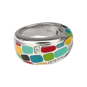 Bague Una Storia rectangle multicolore BG121171