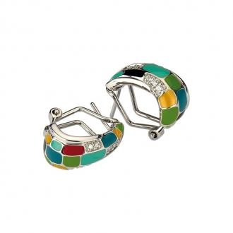 Boucles d'oreilles Una Storia rectangle multicolore